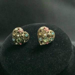 BETSY JOHNSON Jeweled Heart Earrings